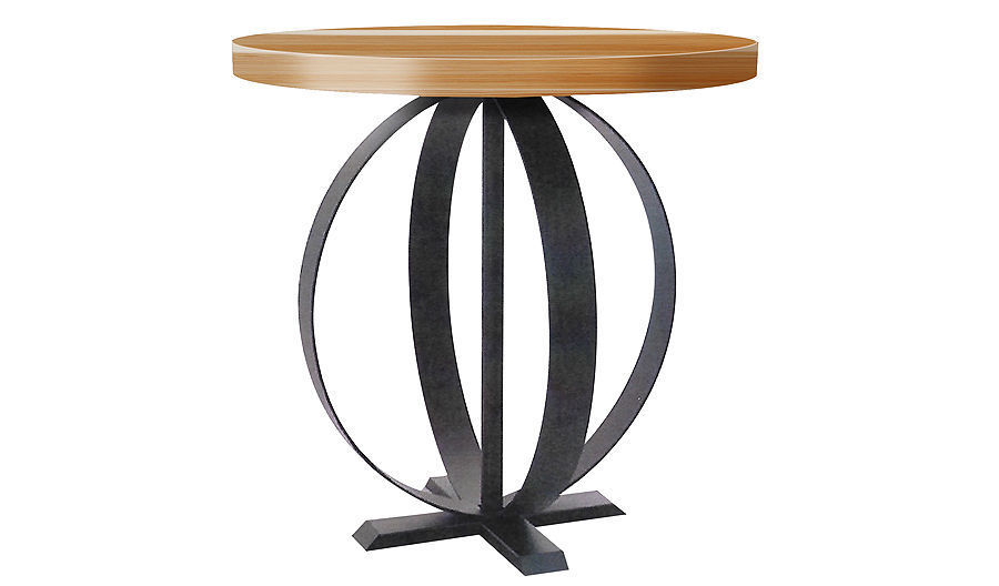 "Picture of 18"" Custom Lili Round Table with Ornate Modern Metal Base"