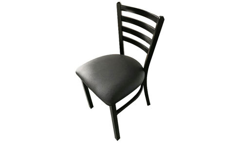 "18"" Ladderback Dining Custom Black Vinyl Seat"