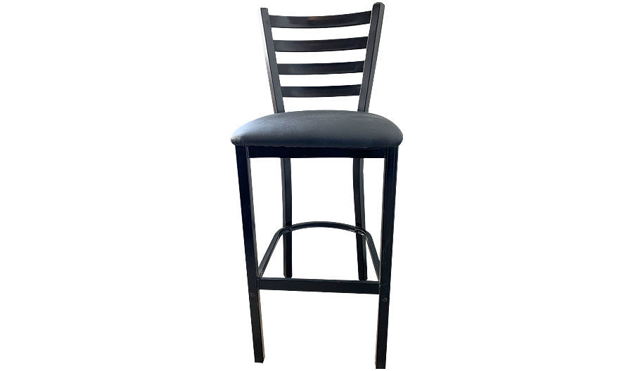 "Picture of 41-1/4""  Ladderback Metal Barstool with Upholstered Seat in Black Vinyl"