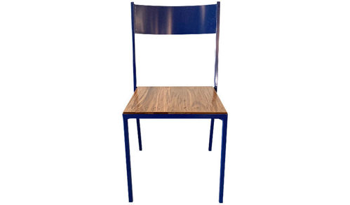 "34"" Alfresco Metal Side Chair with Metal Back and Wood Seat"