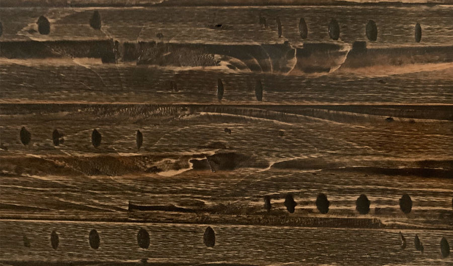 Picture of Pine Table Top Heavy Distress Plank Style Brown/Black