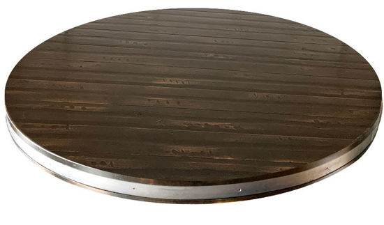 "Picture of Pine Wood Round Table Top with 2"" Metal Insert Heavy Distress Plank Style"