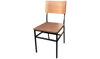 "Picture of 34"" Linden Metal Side Chair with Metal Back Rustic Wood Seat"