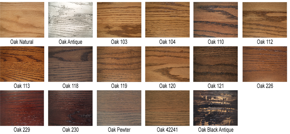 Oak Sample Finishes